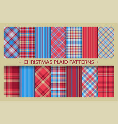 plaid pattern seamless ornate set christmas vector image