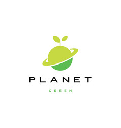 planet green leaf sprout logo icon vector image