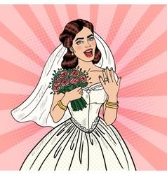 Pop Art Happy Bride with Flowers Bouquet vector image
