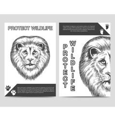 Protect nature brochure with lion vector image