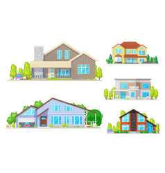 real estate houses and villa building icons vector image