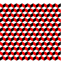 red black and white 3d cubes seamless pattern vector image