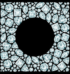 Round frame made of diamonds on black background vector