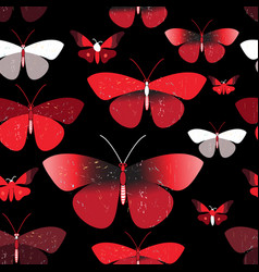 seamless bright pattern red butterflies vector image