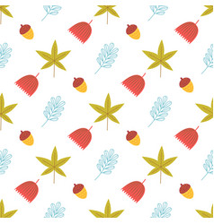 seamless pattern acorns and leaf vector image