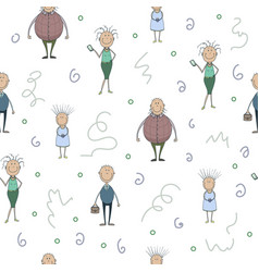 seamless pattern with funny cartoon smiling vector image