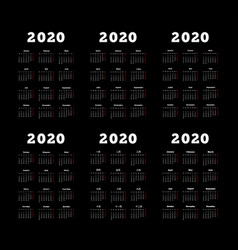 set of 2020 year simple vertical calendars vector image