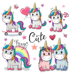 set of cute cartoon unicorns vector image