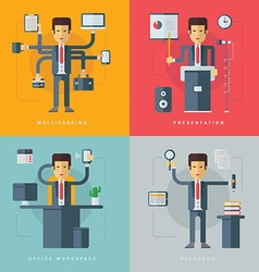 Set of Flat Conceptual of Businessman Multitasking vector image