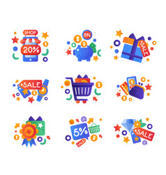 shopping sale symbols set internet shopping e vector image