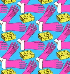 Sketch sponge and gloves vector image