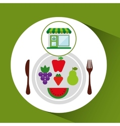 store fresh vegetables vegan products vector image