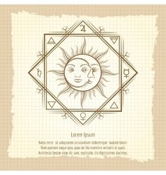 Sun and moon on vintage background vector