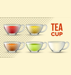 tea cups with color liquid 3d set vector image