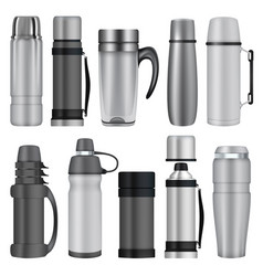 Thermos mockup set realistic style vector