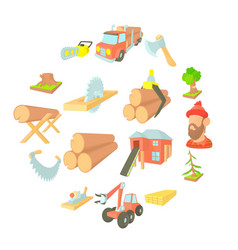 timber industry icons set cartoon ctyle vector image