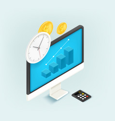 Time is money concept 3d style cute isometric vector