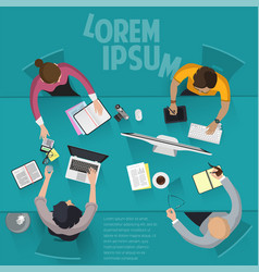 top view flat design office work vector image