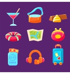 Travel Related Objects Colorful Simplified Icons vector