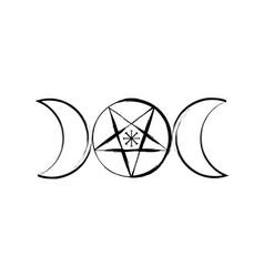 Triple moon goddess wicca pentacle pagan symbol vector