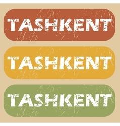 Vintage Tashkent stamp set vector