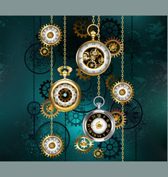 Watch with chains on green background vector