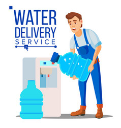 Water delivery service man company vector