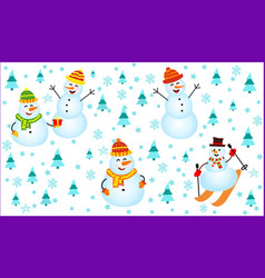 winter pattern with snowmen snowflakes and vector image