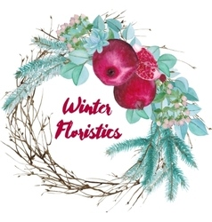 Winter Watercolor Floristic Composition vector image