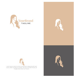 women hairstyle logo template vector image