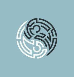 Yin yang maze vector