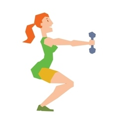 Young girl with dumbbells healthy workout gym vector