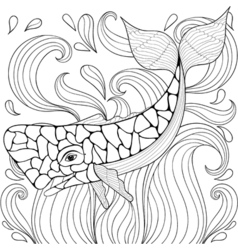 Zentangle Whale in waves Freehand sketch for adult vector image