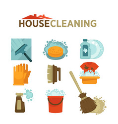 house cleaning washing and mopping tools vector image vector image