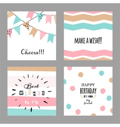 Set with cute decorative cards for birthday vector image
