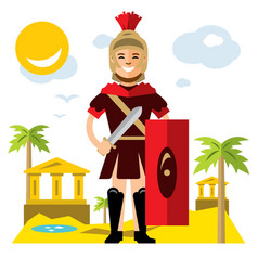 spartan warrior flat style colorful vector image vector image