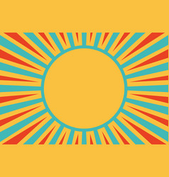 sun red yellow blue background pop art retro vector image vector image
