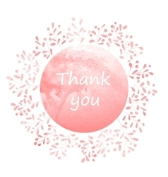 Thank you card with watercolor wreath vector image vector image