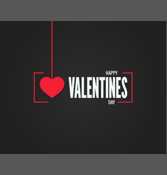 valentines day logo on black background vector image vector image