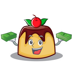 With money pudding character cartoon style vector