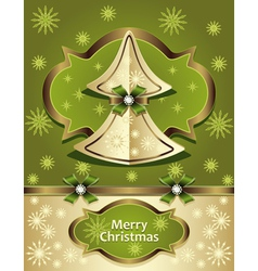 Christmas Tree from paper with bow ribbon snowflak vector image vector image