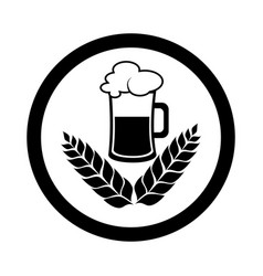circular emblem with monochrome beer glass vector image