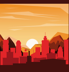 Colorful background of landscape of city in the vector