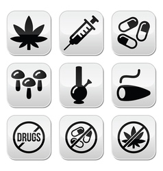 Drugs addiction marijuana syringe buttons set vector image vector image