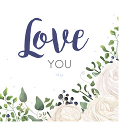 Floral card design with watercolor white flowers vector
