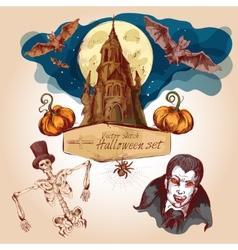 Halloween colored sketch set vector image vector image
