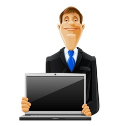 man with laptop vector image vector image