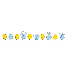 set of funny easter bunnies and chicks vector image