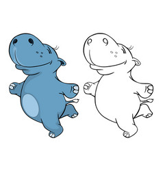 cute little hippo cartoon character vector image