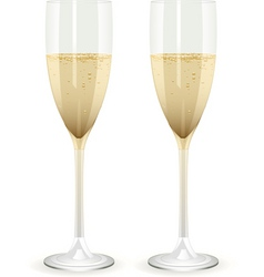 two champagne glasses filled with champagne on a w vector image vector image